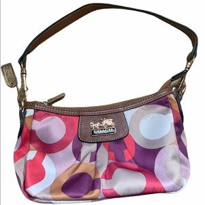 Coach Y2K Small Scarf Print Hobo Bag Leather